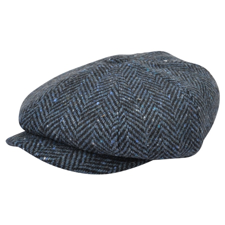 Blue Herringbone Donegal Tweed Baker Cap  - Click to view a larger image