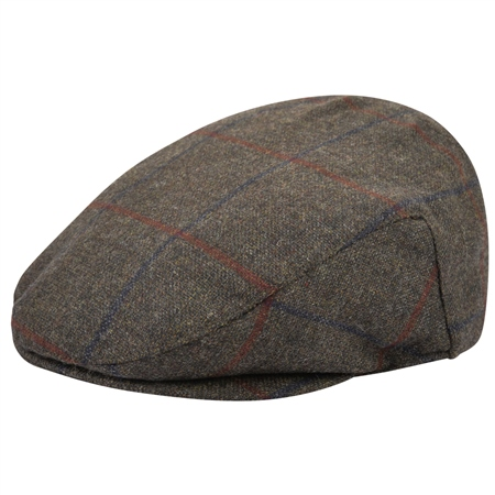 Green Checked Donegal Tweed Flat Cap  - Click to view a larger image