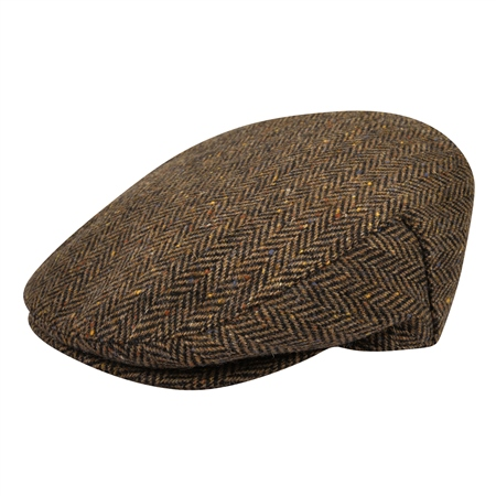 Brown & Black Herringbone Donegal Tweed Flat Cap   - Click to view a larger image