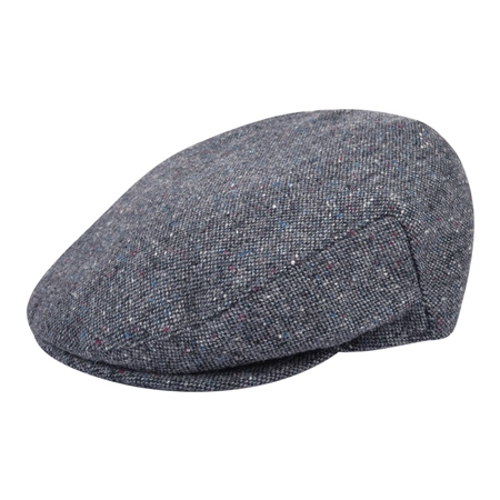 Grey Salt & Pepper Donegal Tweed Cap  - Click to view a larger image