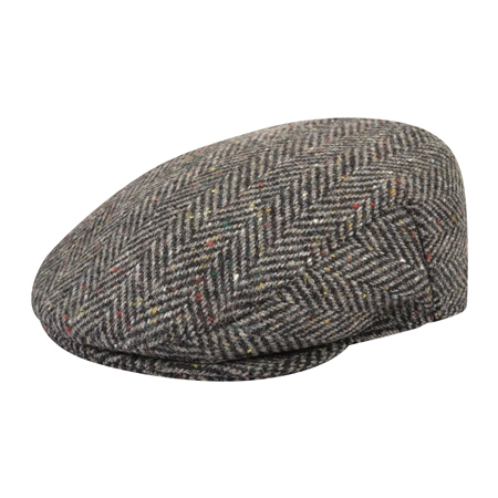 Grey Herringbone Donegal Tweed Flat Cap  - Click to view a larger image