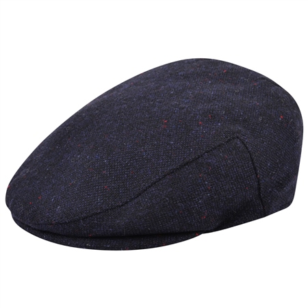 Navy Salt & Pepper Donegal Tweed Cap  - Click to view a larger image