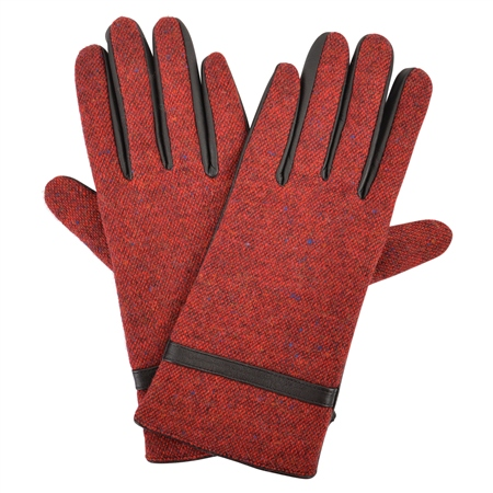 Red Clogher Salt & Pepper Donegal Tweed Women's Gloves  - Click to view a larger image