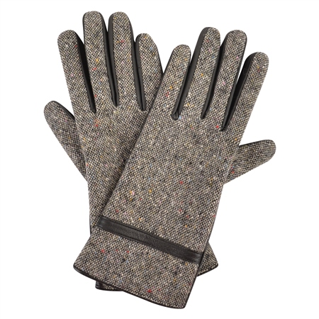 Grey Clogher Salt & Pepper Donegal Tweed Womens Gloves  - Click to view a larger image