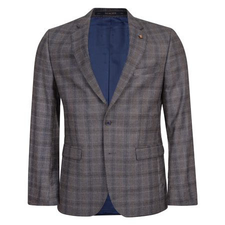 Brown & Blue Checked 3-Piece Tailored Fit Suit  - Click to view a larger image