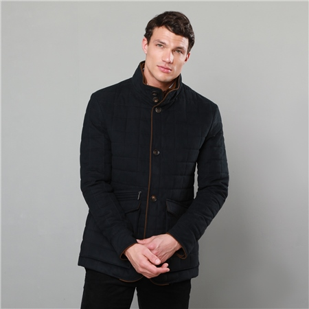 Navy Glenveigh Quilted Classic Fit Coat  - Click to view a larger image