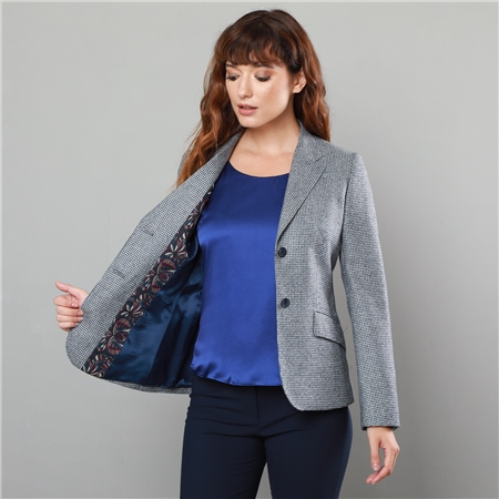 Grey & Navy Alicia Classic Fit Blazer  - Click to view a larger image