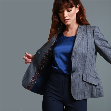 Grey Alicia Wool & Cashmere Herringbone Pinstripe Classic Fit Blazer  - Click to view a larger image