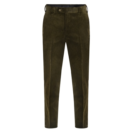 Olive Plain Front Cord Classic Fit Trousers  - Click to view a larger image