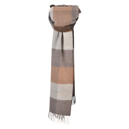 Luxury Oat & Brown Patchwork Scarf  - Click to view a larger image