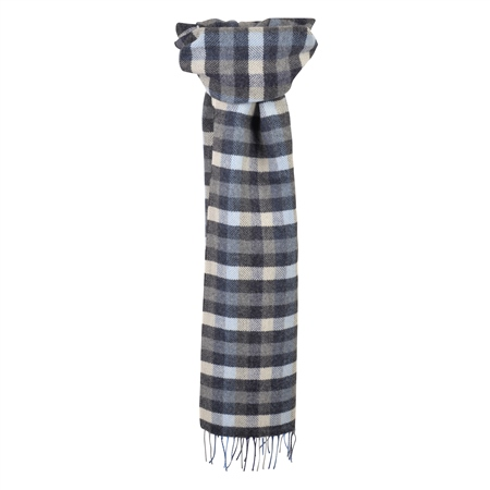 Navy, Blue & Oat Herringbone Patchwork Scarf   - Click to view a larger image