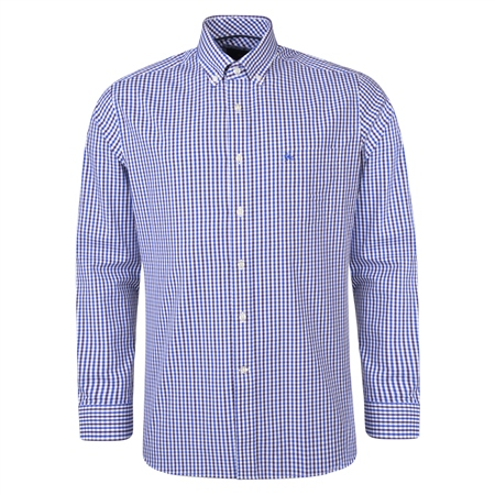 Purple & Blue Checked Tullagh Button Down Classic Fit Shirt  - Click to view a larger image
