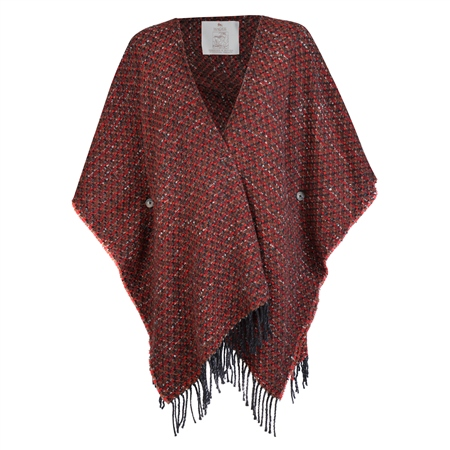 Red Eske Donegal Tweed Cape  - Click to view a larger image