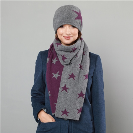 Grey & Purple Star Hat   - Click to view a larger image