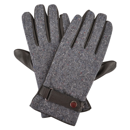 Grey Farnagh Salt & Pepper Donegal Tweed Men's Gloves  - Click to view a larger image