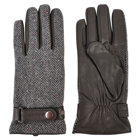 Grey Farnagh Herringbone Donegal Tweed Men's Gloves  - Click to view a larger image