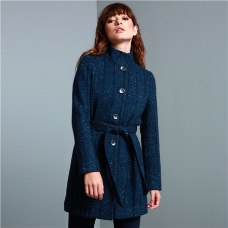Blue Owenea Herringbone Donegal Tweed Coat  - Click to view a larger image