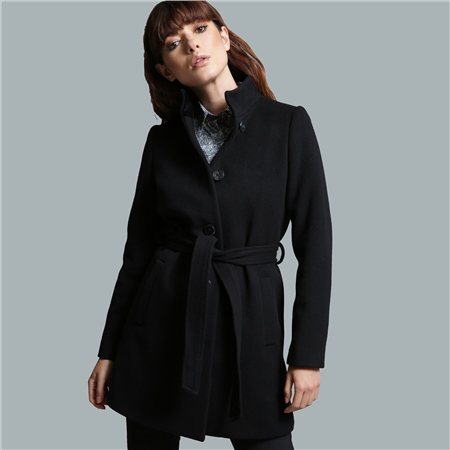 Black Owenea Wool & Cashmere Tailored Fit Coat  - Click to view a larger image