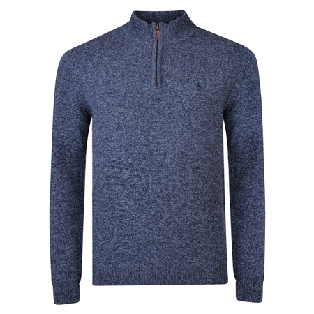 Navy Mullans Lambswool 1/4 Zip Jumper  - Click to view a larger image