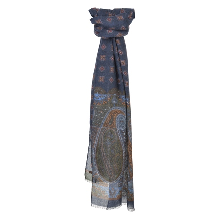Blue, Green & Red Paisley Print Scarf  - Click to view a larger image