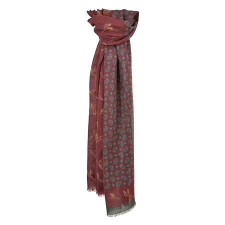 Rust-Red, Blue & Green Paisley Print Scarf   - Click to view a larger image