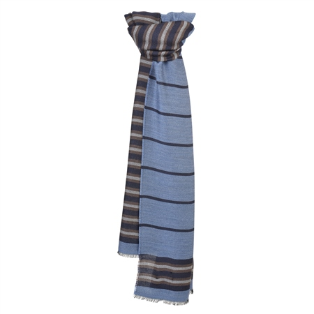 Blue, Brown & Grey Striped Scarf  - Click to view a larger image