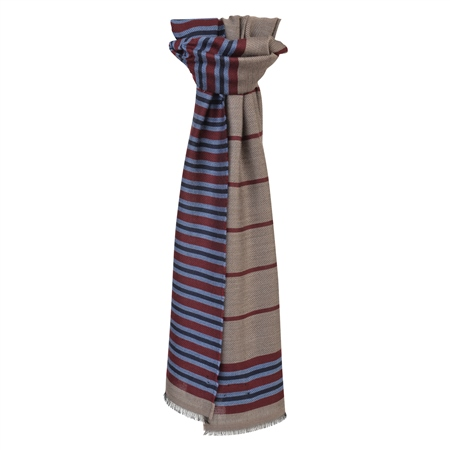 Brown, Red & Blue Striped Scarf  - Click to view a larger image