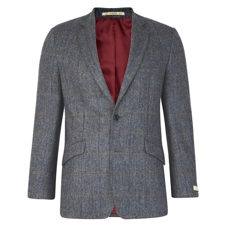 Grey Checked Herringbone Tweed Classic Fit Jacket  - Click to view a larger image