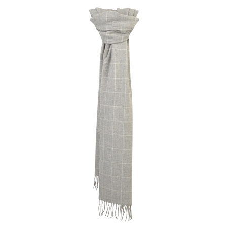 White & Grey Deco Windowpane Wide Scarf  - Click to view a larger image