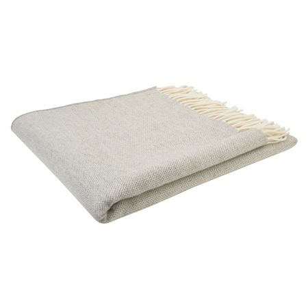 White & Grey Hopsack Throw  - Click to view a larger image