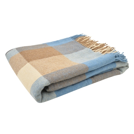 Camel, Brown & Blue Patchwork Throw  - Click to view a larger image