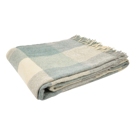 White, Grey & Green Patchwork Throw  - Click to view a larger image