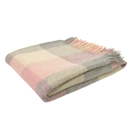 White, Grey & Pink Patchwork Throw  - Click to view a larger image