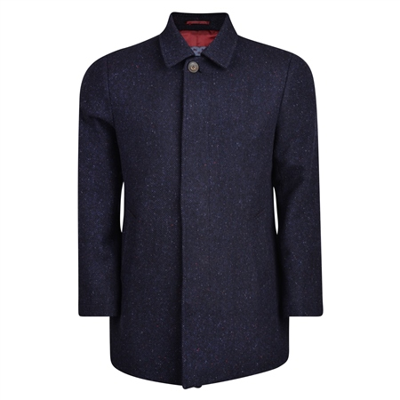 Navy Edergole Salt & Pepper Donegal Tweed Coat  - Click to view a larger image