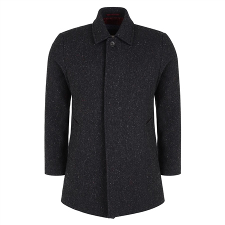Charcoal Edergole Donegal Tweed Coat  - Click to view a larger image