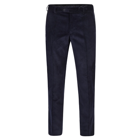 Navy Plain Front Cord Classic Fit Trousers  - Click to view a larger image