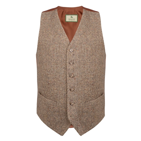 Brown Salt & Pepper Donegal Tweed Classic Fit Waistcoat  - Click to view a larger image