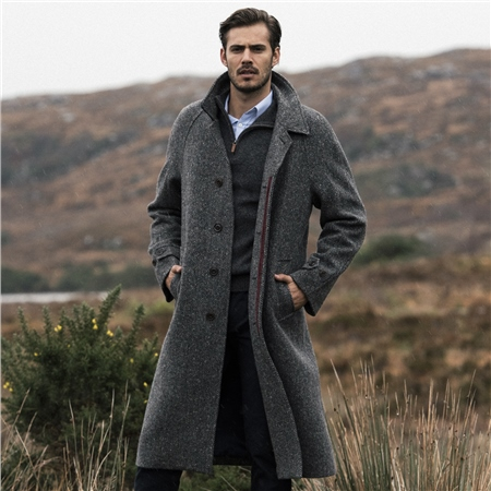 Grey Donegal Tweed Corrib Quilted Raglan Coat  - Click to view a larger image