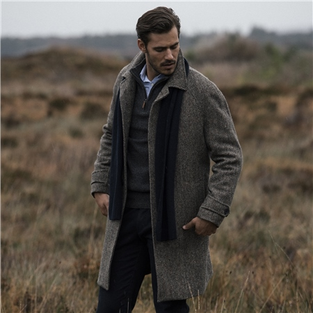 Brown Erne Herringbone Donegal Tweed Raglan Coat  - Click to view a larger image