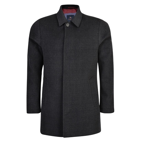 Black & Charcoal Edergole Checked Coat   - Click to view a larger image
