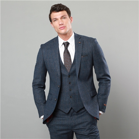 327dd0a05dba Blue & Rust Checked Donegal Tweed 3-Piece Tailored Fit Suit ...