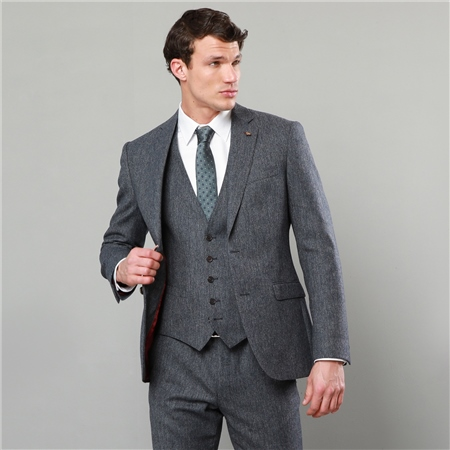 Grey & Navy Donegal Tweed 3-Piece Tailored Fit Suit  - Click to view a larger image