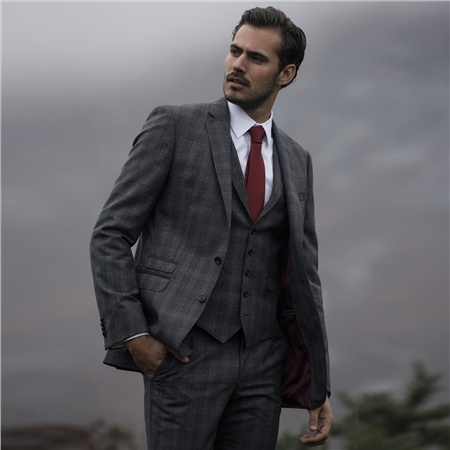 Charcoal & Burgundy Glencheck 3-Piece Tailored Fit Suit  - Click to view a larger image