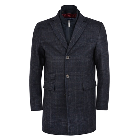 Blue & Navy Doonalt Checked Cashmere Blend Coat  - Click to view a larger image