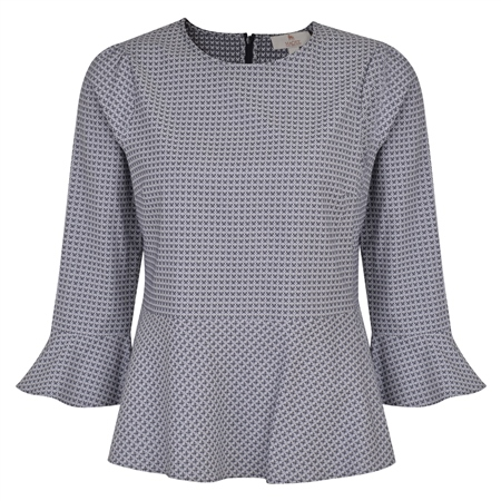 Navy Anne Geometric 3/4 Length Sleeve Top  - Click to view a larger image