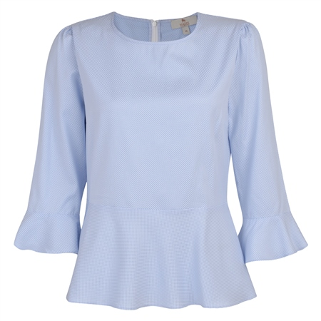 Blue & White Anne Geometric 3/4 Length Sleeve Top  - Click to view a larger image