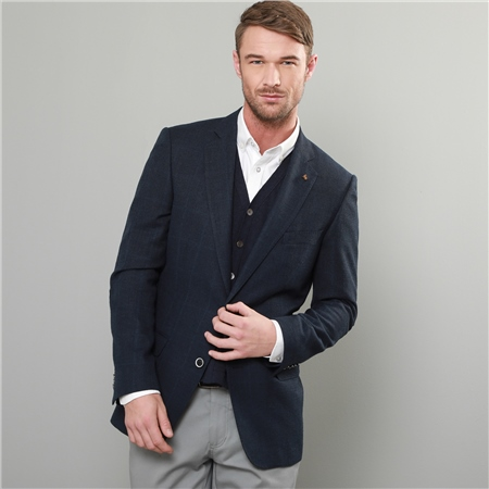 Navy Windowpane Check Classic Fit Blazer  - Click to view a larger image