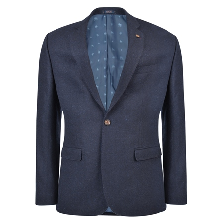 Navy & Blue Donegal Tweed Tailored Fit Jacket  - Click to view a larger image