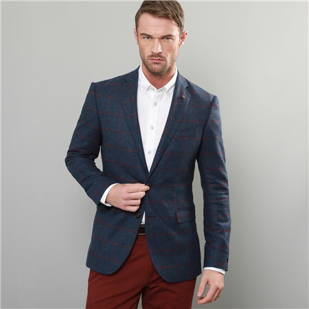 Blue & Raspberry Windowpane Check Tailored Fit Jacket  - Click to view a larger image