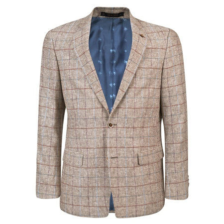 Oat Linen Checked Classic Fit Jacket  - Click to view a larger image